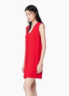 Vestido pormenor plissado - Vestidos de Mulher | MANGO