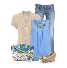Outfit Primavera, azul y flores buena combinacion.