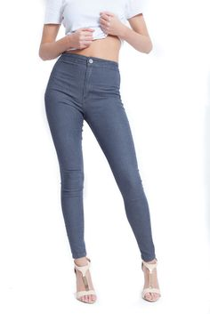 NEW WOMENS LADIES HIGH WAISTED JEANS RIPPED/PLAIN/KNEE CUT SKINNY JEGGINGS 6-14