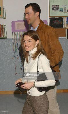 Spanish royalty, Crown Prince Felipe and Princess Letizia, arrive to vote in the European Constitution referendum at 'Monte de el Pardo' school on February 20, 2005 in El Pardo, Madrid, Spain.
