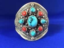 Nepalese Sterling Silver Coral AND Spider WEB Turquoise Cuff | eBay