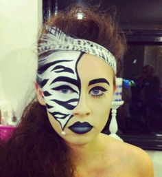 Zebra Gesichtsfarbe - Famous Last Words Mask Makeup, Body Makeup, Eye Makeup, Animal Face Paintings, Animal Faces, Cat Halloween Makeup, Halloween Make Up, Zebra Make-up, Zebra Face Paint