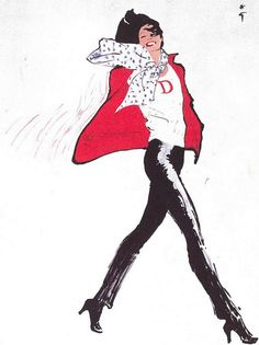 Illustration by Rene Gruau for Christian Dior Boutique,1975