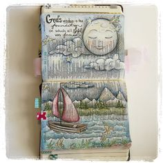Proverbs 8:22-31  Amazing double page spread and beautiful illustration of moon over water in journaling Bible.