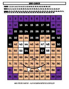 Vampire Hundreds Chart Hidden Picture Activity for Halloween Math