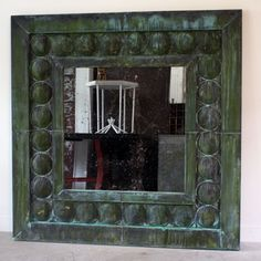 """Hand Made Vertigre Mirror, an RT Facts original. Made by hand at our shop with patinated copper, and available in custom sizes. These mirrors add drama to any space. Price is for mirror shown, price may vary when custom built.  56""""H x 56""""w x 2""""d"""