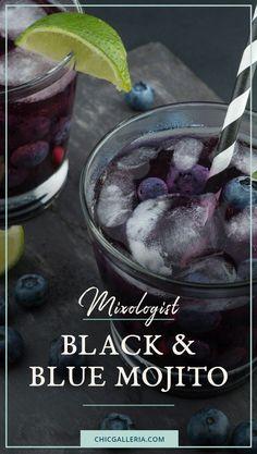 Black and Blue Mojito Recipe | Mojito recipe | Mixed drinks | Mixology drinks | Mixology recipes
