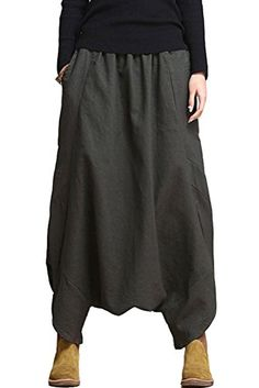 Mordenmiss Women's Casual Drop Crotch Harem Pants (Style 1-Coffee) at Amazon Women's Clothing store: