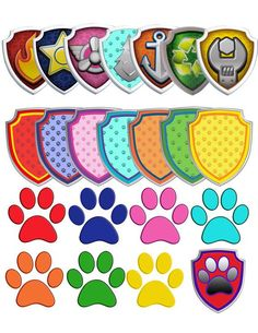 70 Paw Patrol Clipart - 7 logos and 7 shields - printable Digital Clipart Digital Images PNG Instant Download