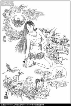 Nüwa (creator of humans in Chinese mythology) Colouring Pages, Adult Coloring Pages, Coloring Books, Korean Art, Asian Art, Chinese Painting, Chinese Art, Creation Myth, Chinese Drawings
