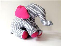 African Bazaar Stuffed Batik Elephant: Large