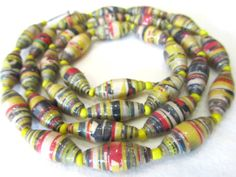 Paper beads necklace-Handmade paper by PlanetEarthHandmade on Etsy