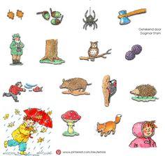 Plaatjes thema 'herfst' (Getekend door Dagmar Stam)
