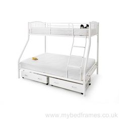 Oslo Three Sleeper Metal Bunk Bed in White Underbed Storage Drawers, Metal Bunk Beds, Flat Ideas, Childrens Beds, Under Bed Storage, Kid Beds, Bedroom Furniture, Mattress, Taj Mahal