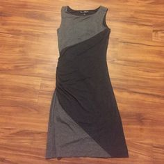 Gray midi dress Perfect condition. Ruched on one side. Soft and stretchy material Mercer & Madison Dresses Midi