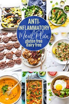 Food plays a key role in reducing inflammation in the body, so here's a dairy free and gluten-free anti-inflammatory meal plan. It's full of recipes that are nourishing for the mind and body! Simple, delicious, and rich in foods that are known for their anti-inflammatory properties. Vegan, Paleo, and Whole 30 friendly options