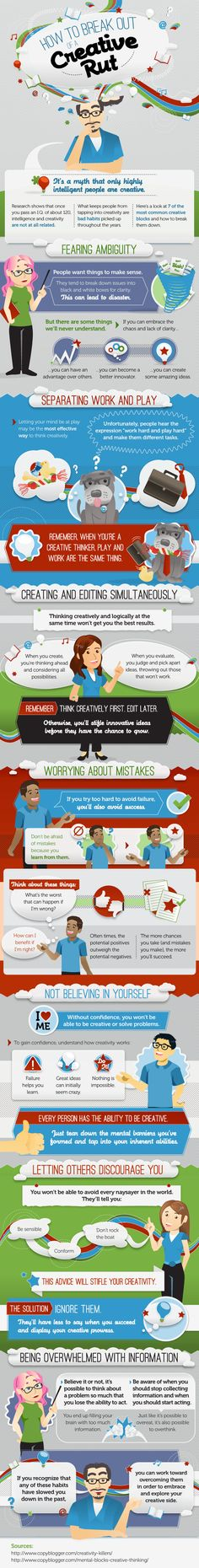 "How To Be More Creative | Infographic creativity ""If you try to hard to avoid failure, you'll also avoid success."""