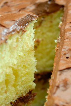 Grandma's (From-Scratch) Chocolate-Frosted Yellow Cake – 12 Tomatoes - Deserts - Kuchen Sheet Cake Recipes, Dessert Cake Recipes, Homemade Cake Recipes, Baking Recipes, Desserts, Yellow Cake Recipes, Yellow Sheet Cake Recipe, The Best Yellow Cake Recipe Ever, Moist Yellow Cupcake Recipe