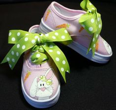 Hand Painted Bunny on Pink Canvas Lace Up Shoes by tickledtoes, $36.00