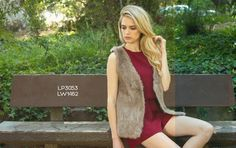 Look 11: Rabbit Fur Vest paired with Burgundy Strappy Romper #fw2015 #lookbook #cluce