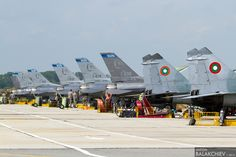 Thracian star 2014 - Graf Ignatievo, Bulgaria. Bulgarian Mig29's and USA F16's togother on the flight line