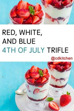An easy layered dessert that everyone will love for the 4th of July!     CDKitchen.com