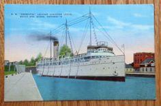 SS Keewatin Leaving Canadian Locks, Sault Ste Marie Ontario Postcard