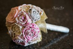 Lace covered ribbon flower bouquet by Knot to Worry Facebook.com/knottoworry