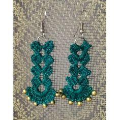 Green dangler earrings