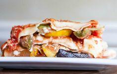 Roasted okra, summer squash and eggplant lasagna