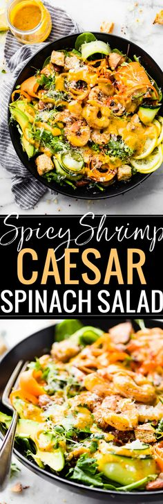 Spicy shrimp Caesar Spinach salad is a quick light meal for lunch or dinner! The spicy shrimp and kickin' homemade Caesar dressing is key to making this salad shine! Tender shrimp tossed in chile powder, onion, and cayenne then baked crispy! A flavorful a Spinach Recipes, Fish Recipes, Seafood Recipes, Dinner Recipes, Potato Recipes, Veggie Recipes, Lunch Recipes, Recipies, Healthy Eating Recipes