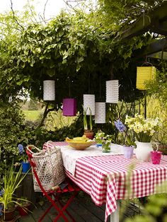 Use our square and cylinder paper lanterns to liven up your picnic area.