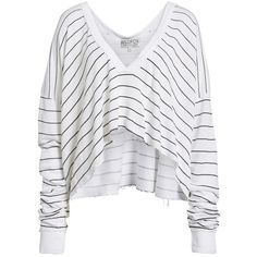 Women's Wildfox Simple Stripe Palmetto Tee ($118) ❤ liked on Polyvore featuring tops, t-shirts, wildfox t shirts, oversized t shirt, striped top, v neck tee and striped t shirt