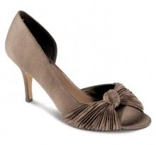 'Lunar Elegance' Beautiful open toe court shoes with pleated detail to the front.     Heel height: approx 3 inches     Available in sizes UK 3 - 8 (EU 36 -41)     Colour: Taupe