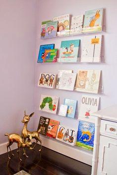 Post card display shelves for books