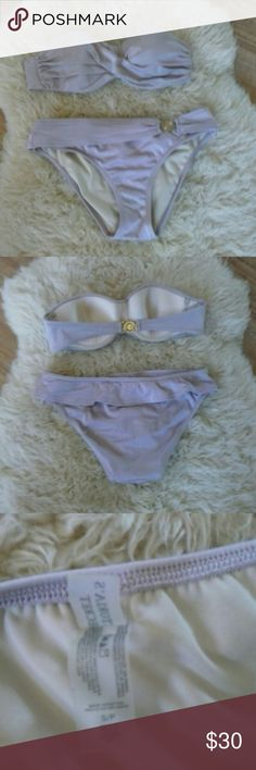VS Bikini Really soft purple, really feminine, also have strap, metal detail looks like New on bottoms, some wear on the top metal back but overall great shape. Small top and bottom. Victoria's Secret Swim Bikinis