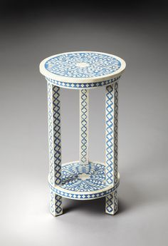Amanda Blue Bone Inlay Accent Table by Butler Specialty Company 3207070