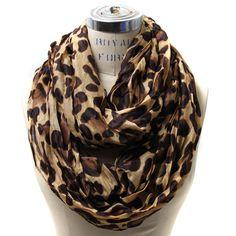 Stor leopard-m�nstrad sjal scarf i brunt