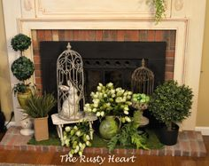 ideas for fireplace mantel decorating spring | Spring Mantel