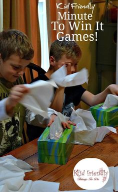 Kid Friendly Easy Minute To Win It Games for Your Party - Simple and fun games for your holiday, Christmas, school, or anytime party! http://www.kidfriendlythingstodo.com