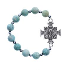 St. Benedict bracelet in cool blue-greens beads.