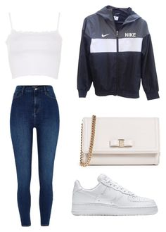 """""""Slay"""" by llupita on Polyvore featuring NIKE, River Island, Topshop and Salvatore Ferragamo"""