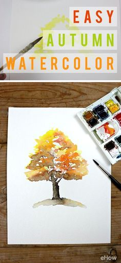 Master this easy autumn watercolor scene so you can bring the beautiful warm colors of fall into your home! http://www.ehow.com/how_12342929_easy-autumn-tree-watercolor-painting.html?utm_source=pinterest.com&utm_medium=referral&utm_content=freestyle&utm_campaign=fanpage