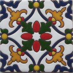 """Colonial hacienda relief tiles are highly decorative. They are fabricated by Rustica House in Mexico and often used for kitchen backsplash and stair risers. Relief Tile """"Yuriria"""" by Rustica House. #myRustica"""