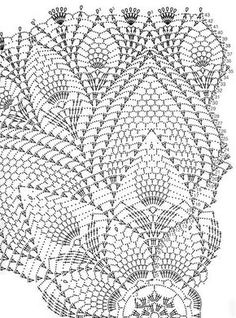 Kira scheme crochet: Scheme crochet no. 1922 - Crafting Now Large round napkin with pineapples Crochet patterns for tablecloths A double pineapple! This Pin was discovered by ela Crochet Tablecloth Pattern, Crochet Doily Diagram, Crochet Doily Patterns, Crochet Mandala, Thread Crochet, Crochet Motif, Crochet Doilies, Crochet Stitches, Hexagon Crochet