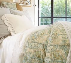 Pottery Barn Fresco Paisley Full Queen Duvet Cover 2 Std Shams Blue New Set | eBay