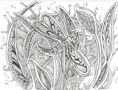 """""""libellula+1""""++disegno+da+stampare+e+colorare+di+Barbara+Santi+Art+su+DaWanda.com"""