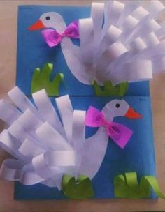 Swan craft for kids. - Bird Crafts for Kids Kids Crafts, Summer Crafts, Preschool Crafts, Easter Crafts, Projects For Kids, Diy And Crafts, Craft Projects, Art N Craft, 3d Craft