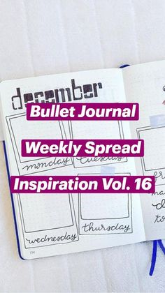 Bullet Journal Weekly Layout, December Bullet Journal, Bullet Journal Aesthetic, Bullet Journal Writing, Bullet Journal Spread, Bullet Journal Ideas Pages, Bullet Journal Inspiration, Wreck This Journal, Planner Pages