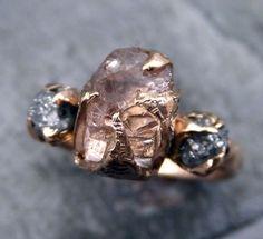 Raw Rough Champangne Pink Topaz Diamond 14k Rose Gold Engagement Ring Wedding Ring One Of a Kind Gemstone Ring Three stone Ring